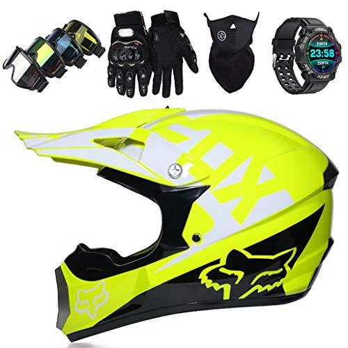 LCRAKON Kinder Motocross Helm, MJH-01 Adult Crosshelm Set (4Pcs), Motorrad Sports...