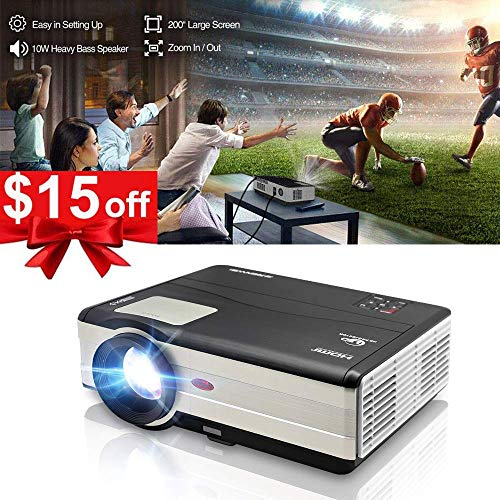 """HD Video Projector LED HDMI 3500 Lumens, 200"""" Image LCD Diaplay Full HD Home Theater Projectors Dual HDMI USB VGA Built-in HiFi Speaker for Laptop Firestick DVD Gaming Indoor Outdoor Movies Party"""