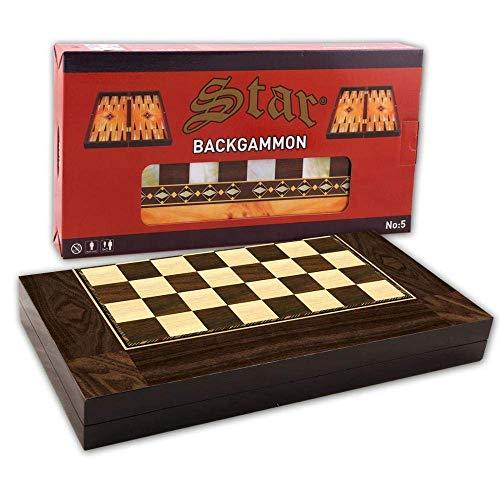 SHENLIJUAN Backgammon Especial Madera de nogal Ajedrez Damas Draughts Juegos de Viaje Gran Conjunto Familiar Tablero Turco Entretenimiento
