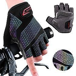 boildeg Fahrradhandschuhe Radsporthandschuhe rutschfeste und stoßdämpfende Mountainbike Handschuhe mit Signalfarbe geeiget Unisex Herren Damen (Black, M)