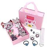 KEY Supreme Haarschmuck für Baby Geschenkset Grau   Haarspangen Set Schleife 18 Stück   Haarklammer für Mädchen mit Geschenkbox   Haargummi Haarclip für Kinder   Kindergeschenk Geburtstagsgeschenk