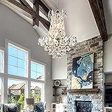 Maxax 6 Lights Modern Crystal Chandelier, K9 Raindrop Luxury Ceiling Light, Adjustable Hanging Pendant Lighting, G9 Base, for Dinning Room, Living Room, Home Decor, Silver