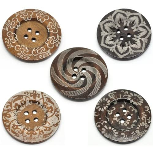 PEPPERLONELY Brand 10PC Dark Brown Large 4 Hole Scrapbooking Sewing Wood Buttons 60mm 2-3//8 Inch