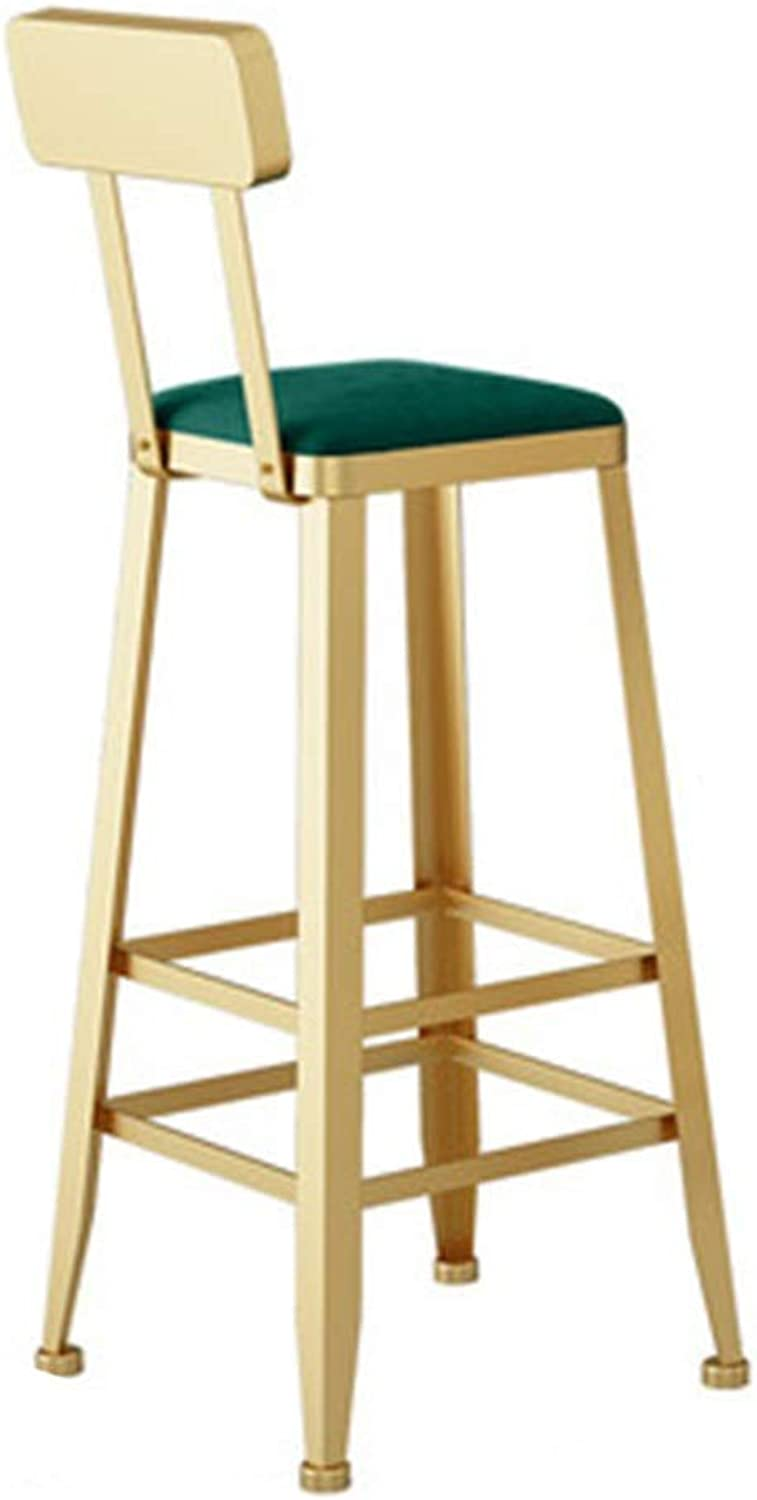 Barstools - Nordic Bar Stool Creative High Foot Chair Personality Design Metal Seat Cafe Counter Restaurant Armchair Household 0426A (color   Green, Size   65cm Seat Height)