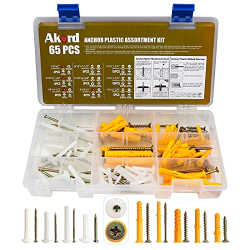 Akord Anchor Plastic Assortment Kit, Nylon Mushroom Head, Yellow Screw Hole Fillers, Drywall Anchors, Hollow Wall, Concrete Anchors, 2 Types & 8 Sizes Different Specifications, 65 Set
