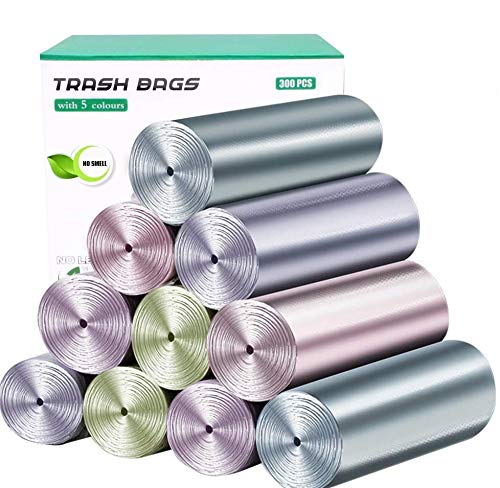 4 Gallon Small Trash Bags 300 Counts 15 Rolls Strong Plastic Garbage Bags Wastebasket Liners Bags Colored for Kitchen Bathroom Bedroom Office Car Pet Bags (5 Nordic Macaron Colors)