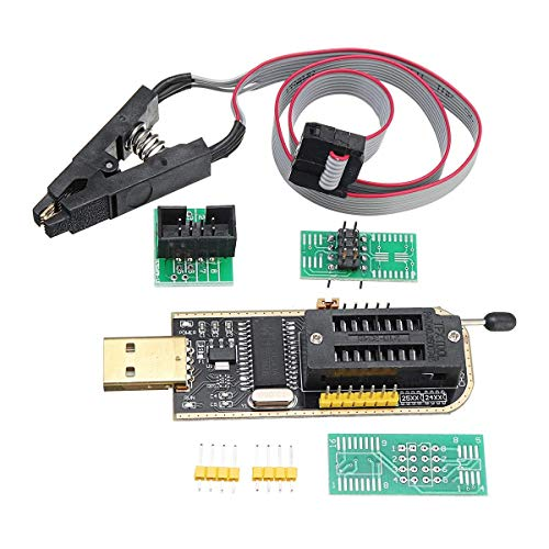 YUQIYU Auto-installing Combination CH341A 24 25 Series EEPROM Flash BIOS USB Programmer + SOIC8 SOP8 Clip Adapter Module
