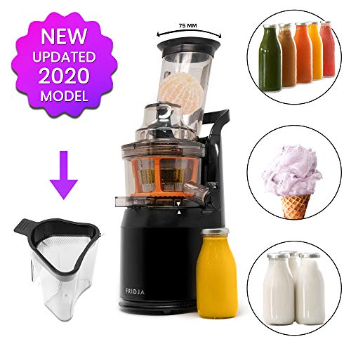 Fridja f1900 Cold Press Extractor de Jugo Slow Juicer – Boca de alimentación inclinable de 75MM
