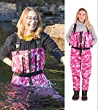 NEYGU Men & Women's Quick-Drain Waterproof and Breathable Chest Wader with Front Venting Zip for Fishing and Hunting,Pink Camo 2XL