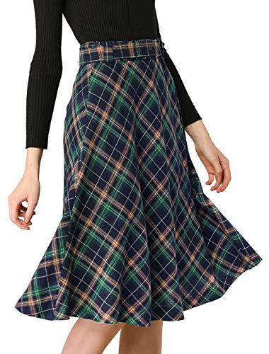 Allegra K Women's Tartan Plaid High Waist Belted Vintage A-Line Midi Skirt Small Blue Green