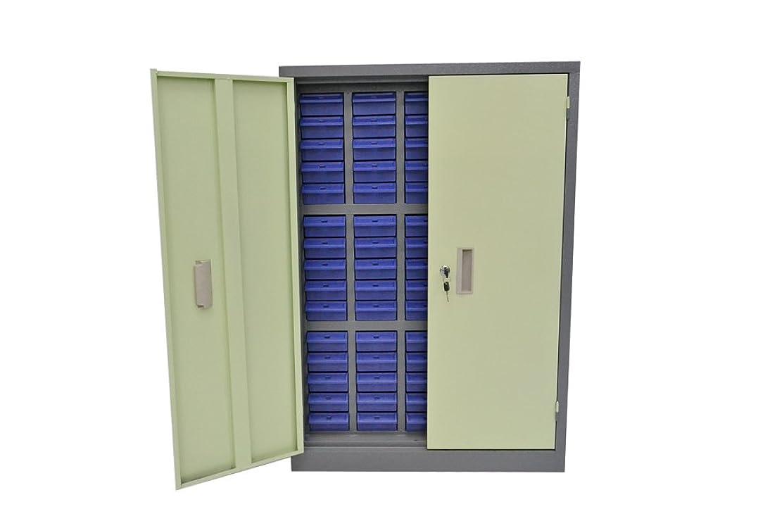 問題ダイエット尊厳鍵扉付き スチール製 パーツキャビネット 部品 収納 パーツケース 5列-15段 引き出し ブルー S515D-B