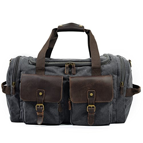 QFYZYZ Outdoor Men's Bag Vintage Men Canvas Large Handbag Gym Travel Sports Waterproof Shoulder Luggage Bag Large Capacity Bag (Grey)