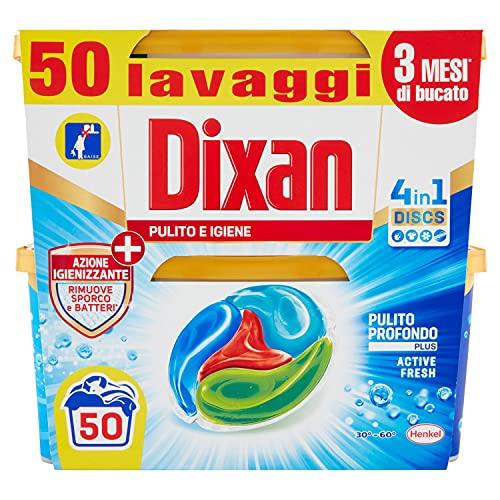 Dixan Discs Pulito & Igiene Detersivo Lavatrice Predosato in Capsule 4 in 1, 2 x 25 Lavaggi