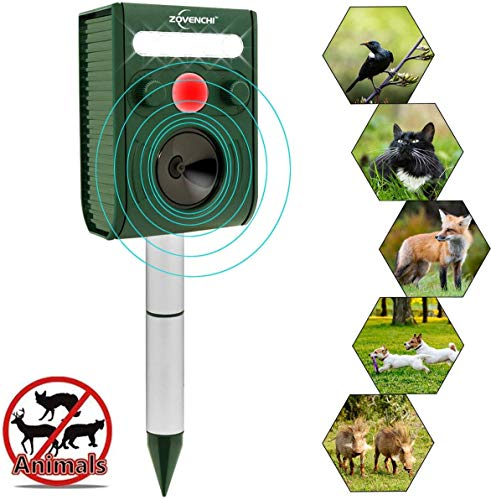 Ultrasonic Animal Repeller, Solar Ultrasonic Animal Scarer Support Cable Charging,Waterproof Wild Animal Expeller,Very Effective for Birds,Dogs,Cats,Raccoons,Squirrels,Skunks,Deer etc