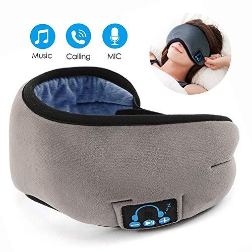Slaap Koptelefoon Verstelbaar Draadloze Bluetooth Blinddoek Met Microfoon En Luidsprekers Geluidwerend Geschikt Voor Woman Man,Gray