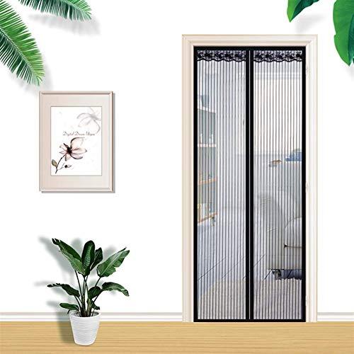 QAZW Sommer Magnetisches Anti-moskitonetz Automatisches Schließen Magnetisches Türnetz Anti-fliegen-insektenschutzgitter Für Türfensterabdeckungen,Black-90X200