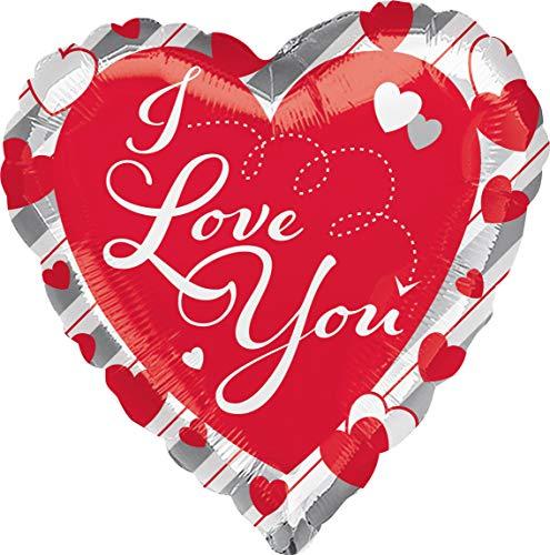Amscan 3644001 Folienballon Love You, Rot, Weiß, Silber
