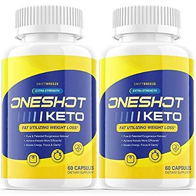 (2 Pack) One Shot Keto Pills Oneshot Keto Shark Tank Fat Advanced Weight 1 Shot Formula Supplement As Seen on TV, Exogenous Ketones for Rapid Ketosis (120 Capsules)