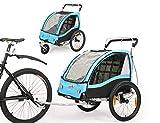 Fiximaster 2 en 1 Remolque de bicicleta para niños con rotación de 360° MUL-tifunction Cochecito de dos asientos para bebé con freno de mano/suspensión (azul BT503)