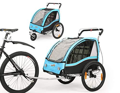 Fiximaster 2-in-1-Kinder-Fahrradanhänger, 360° drehbar, MUL-tifunktions-Kinderwagen mit Handbremse/Federung (blau BT503)