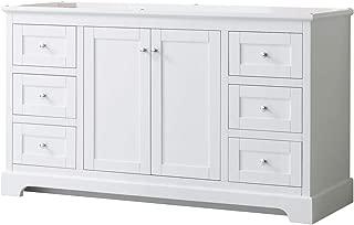 Wyndham Collection Avery 60 Inch Single Bathroom Vanity in White, No Countertop, No Sink, and No Mirror