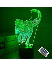 CooPark 3D dinozaury lampka nocna LED, iluzja lampa dla chłopców i dzieci, dekoracja, światło, nastrojowe światło, pilot zdalnego sterowania, 16 kolorów, dotykowy switch, lampa na biurko, prezent urodzinowy