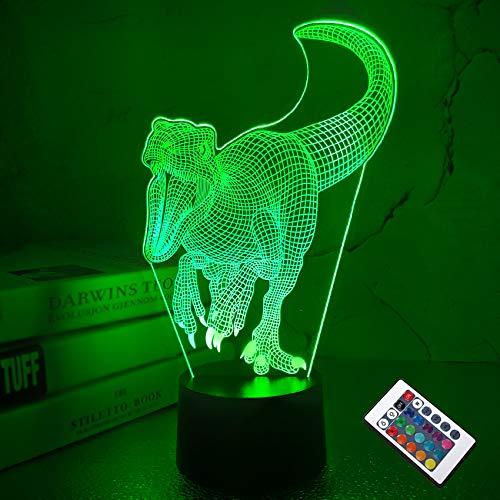 CooPark 3D Dinosaurier LED Nachtlicht Illusion Lampe Jungen Kinder Dekoration Licht Stimmung Licht Nachttisch Fernbedienung 16 Farben ändern Touch Switch Schreibtischlampen Geburtstagsgeschenk