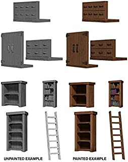 Wizkids Deep Cuts Unpainted Miniatures Bookcases & Ladder