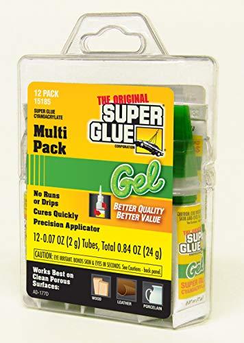 Super Glue 15185 Gel, 12-Pack, .07oz tubes