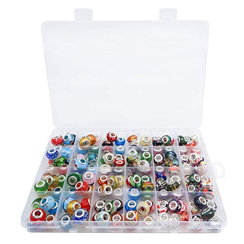 TOAOB 150 Stück Silber Glasperlen European Perlen Anhänger 14x10.5mm für Charms Schmuckherstellung Armbänder Halsketten