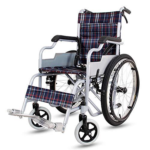 D-Q Autopropulsada plegable silla de ruedas for personas mayores, discapacitados, personas de movilidad reducida con silla de ruedas usuarios con el frente y trasero Freno de mano 55 cm de ancho