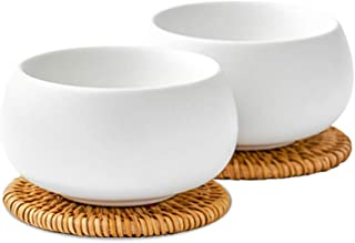 ZENS Teacup Set White, Tea Cups for Loose Leaf Teapot, 1.85 Ounce Frosted Ceramic Japanese Kongfu Cup with 2 Rattan Coasters for Women