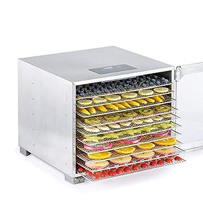 Biochef Kalahari Food Dehydrator - Premium All Stainless Dehydrator for Food - BPA free, LED display, 24hr Timer, Tempered Glass Door - 8, 10 or 16 Trays (10 Trays)