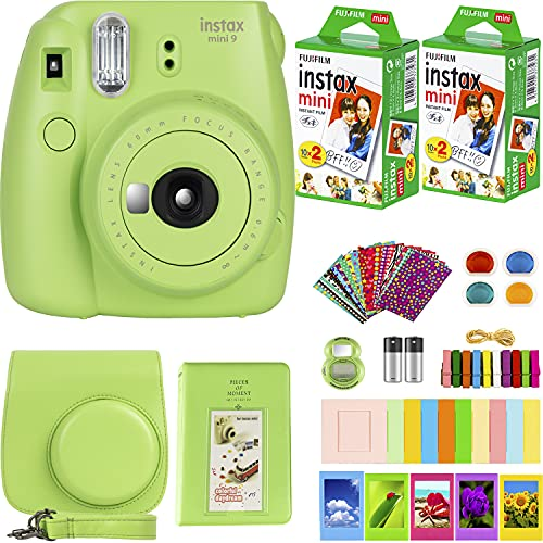 FujiFilm Instax Mini 9 Instant Camera + Fujifilm Instax Mini Film (40 Sheets) Bundle with Deals Number One Accessories Including Carrying Case, Color Filters, Kids Photo Album + More (Lime Green)