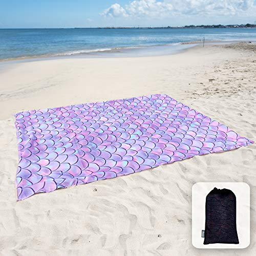 Sunlit Silky Soft Sand Poof Beach Blanket Sand Proof Mat with Corner Pockets and Mesh Bag 6' x 7' for Beach Party, Travel, Camping and Outdoor Music Festival,Purple Mermaid Scale
