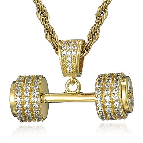 Collar Hombre Acero Inoxidable,Hip Hop Iced Out Bling Rope Chain Barbell Gym Dumbbell Colgantes y collares de mano de color dorado para hombres Joyería de cadena de tenis