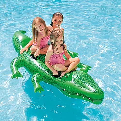 QINGQING Cocodrilo Tumbona Hinchable Colchoneta,Hinchable Flotador Piscina,Flotadores Piscina,Flotador Inflable,con diseño de asa,Utilizado para la Playa de la Piscina de Vacaciones de Fiesta de Agua