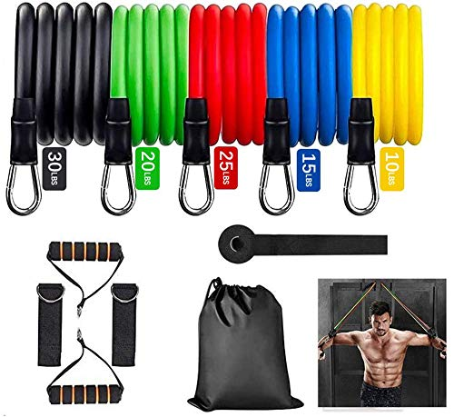 YJClouds Resistance Bands Set12Pcs,Exercise Workout Bands for Women & Men ,Door Anchor and Ankle Straps 5 Stackable Resistance Bands with Handles for Working Out, Fitness Training, Yoga