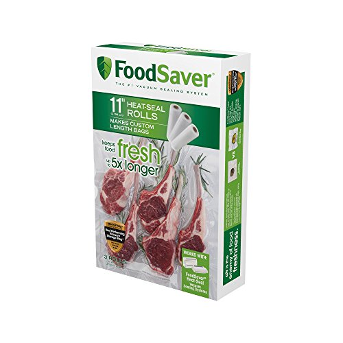 "FoodSaver 11"" x 16' Vacuum Seal Roll | Make Custom-Sized BPA-Free Vacuum Sealer Bags | 3-Pack (Frustration-Free Packaging)"