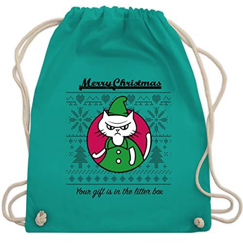 Weihnachten & Silvester - Cat Gift in the litter box - Unisize - Türkis - Fun - WM110 - Turnbeutel und Stoffbeutel aus Baumwolle