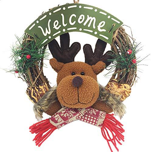 XONOR Guirnalda de Navidad para la Puerta Delantera, guirnaldas de la Puerta de 23 cm Decoración de Carro de Pared de Navidad para el hogar (23cm Reindeer)