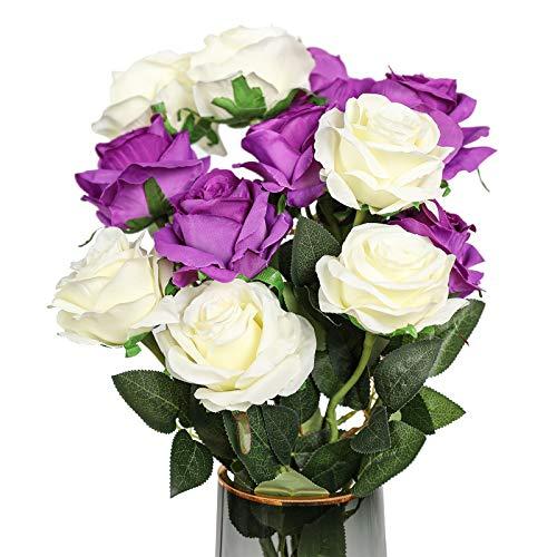 Floralsecret 12 Stück künstliche Seidenrosen Blumenstrauß Kunstblumen Home Hochzeit Party Dekor (weiß, lila)