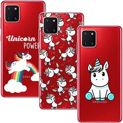 Young & Ming Cover per Samsung Galaxy Note 10 Lite, 3 Pack Morbido Trasparente Silicone Custodie Protettivo TPU Gel Case, Unicorno