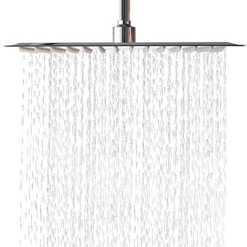 Lordear 12 Inch Rainfall Shower Head Solid Square Ultra Thin 304 Stainless Steel Polish Chrome 12 Inch Rain Shower Head,Waterfall Full Body Coverage with Silicone Nozzle