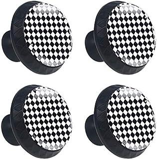 Motif géométrique carré Noir Blanc Boutons D'armoire 4 Pcs Poignés Poignée De Champignons Boutons D'aluminium Porte Poigné...