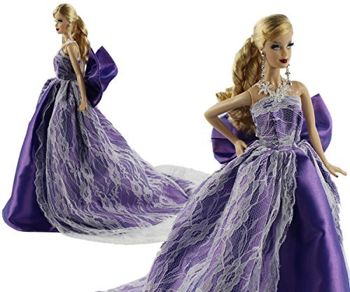 Purple Fashion Party Dress Evening Clothes for Barbie Doll