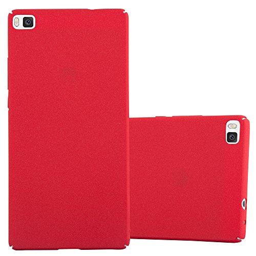 Preisvergleich Produktbild Cadorabo Hülle für Huawei P8 - Hülle in Frosty ROT Hardcase Handyhülle im matten Frosty Design - Schutzhülle Bumper Back Case Cover