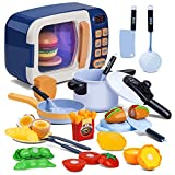NONZERS Toy Microwave, Kitchen Pretend Play Toys, with Electronic Oven, Toy Kitchen Set, Kids Kitchen, Cut Play Food, Learning Gift for Kids Toddlers Boys Girls