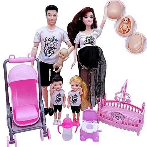 GSDJU Combinación de ParejaFamiliar de 5 Personasmuñeca Embarazada de Barbies mamá /...