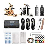 ATOMUS Tattoo Coil Machine Kit Liner and Shader Set 2 Pieces 10 Wraps Tattoo Coil Machine Kit with Digital Power Supply 20 Pieces Mixed Needle Handle Grips 20 Pieces Needles Tip Foot Pedal Clip Cord